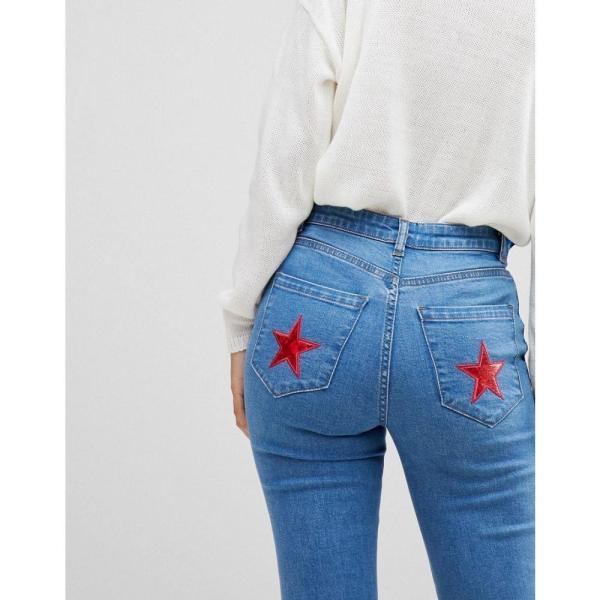 コーラス Chorus レディース ジーンズ・デニム ボトムス・パンツ Flared Jeans with Star Foil Back Pockets Med blue|fermart|02