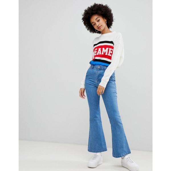 コーラス Chorus レディース ジーンズ・デニム ボトムス・パンツ Flared Jeans with Star Foil Back Pockets Med blue|fermart|03
