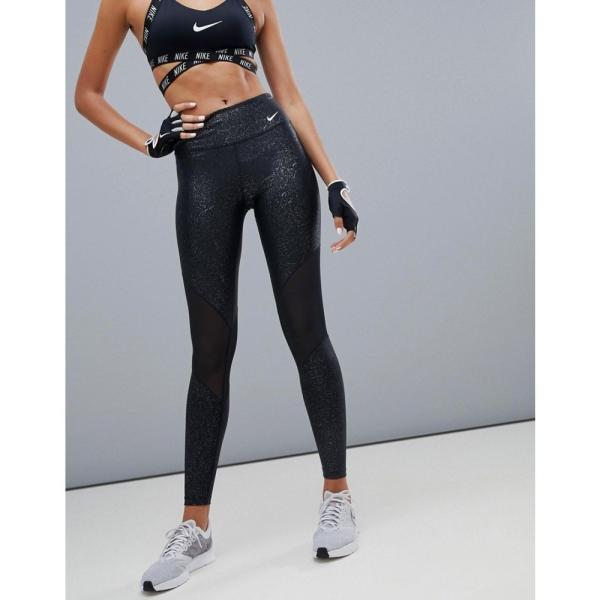 ナイキ Nike Training レディース スパッツ・レギンス インナー・下着 Power Leggings In Black Print With Mesh Panels Black fermart 04