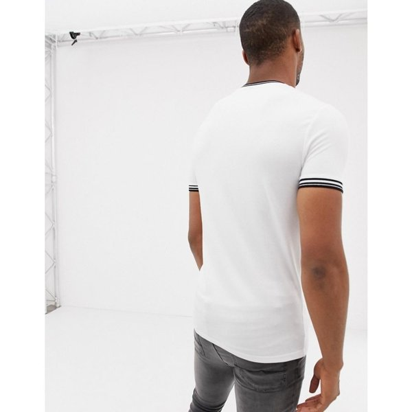 エイソス ASOS DESIGN メンズ Tシャツ トップス muscle fit t-shirt with tipping in white White|fermart|02