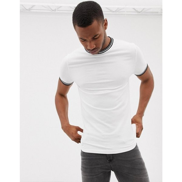 エイソス ASOS DESIGN メンズ Tシャツ トップス muscle fit t-shirt with tipping in white White|fermart|03