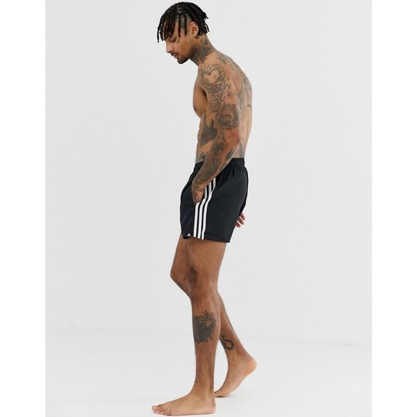 26a532fd03 ... アディダス adidas メンズ 海パン 水着・ビーチウェア Adidas swim shorts with stripes in black