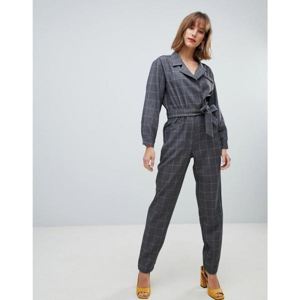 マンゴ Mango レディース オールインワン ワンピース・ドレス check jumpsuit Grey|fermart