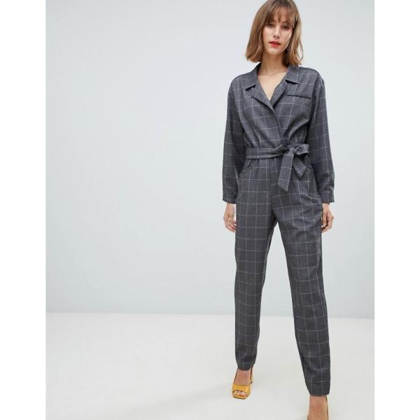 マンゴ Mango レディース オールインワン ワンピース・ドレス check jumpsuit Grey|fermart|04