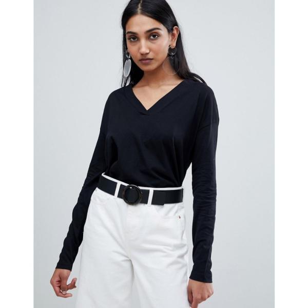 マンゴ Mango レディース トップス organic cotton long sleeve top in black Black fermart