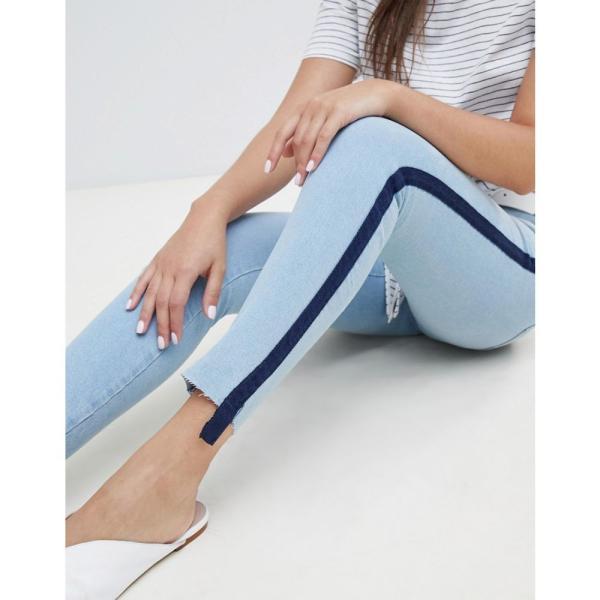 マンゴ Mango レディース ジーンズ・デニム ボトムス・パンツ sporty stripe jeans Denim blue fermart 03