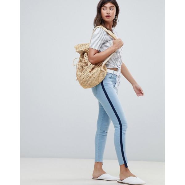 マンゴ Mango レディース ジーンズ・デニム ボトムス・パンツ sporty stripe jeans Denim blue fermart 04