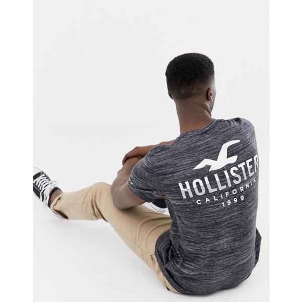 ホリスター Hollister メンズ Tシャツ トップス icon logo crew neck t-shirt with back print in grey texture Light grey/texture|fermart|04