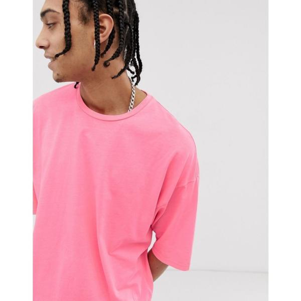 エイソス ASOS DESIGN メンズ Tシャツ トップス oversized t-shirt with half sleeve in washed neon pink Pink|fermart