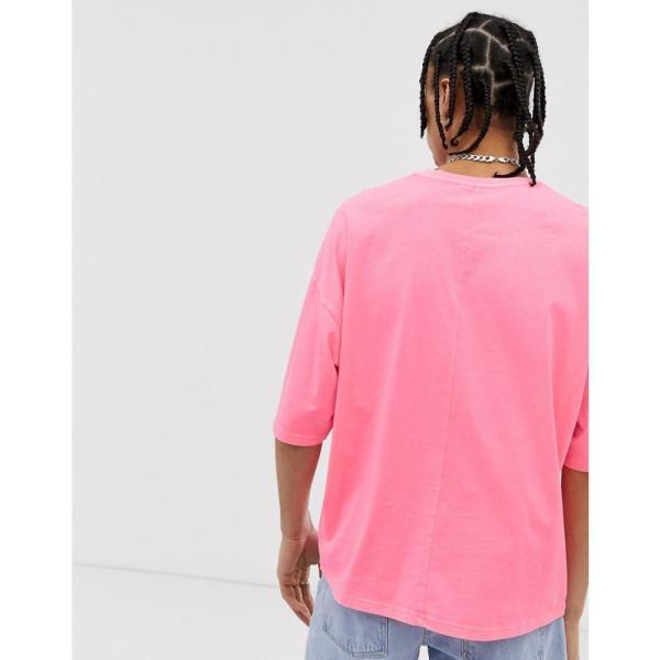 エイソス ASOS DESIGN メンズ Tシャツ トップス oversized t-shirt with half sleeve in washed neon pink Pink|fermart|02