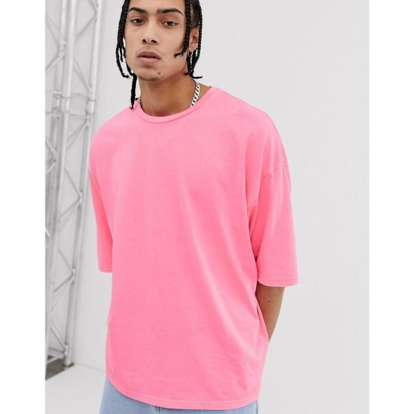 エイソス ASOS DESIGN メンズ Tシャツ トップス oversized t-shirt with half sleeve in washed neon pink Pink|fermart|03