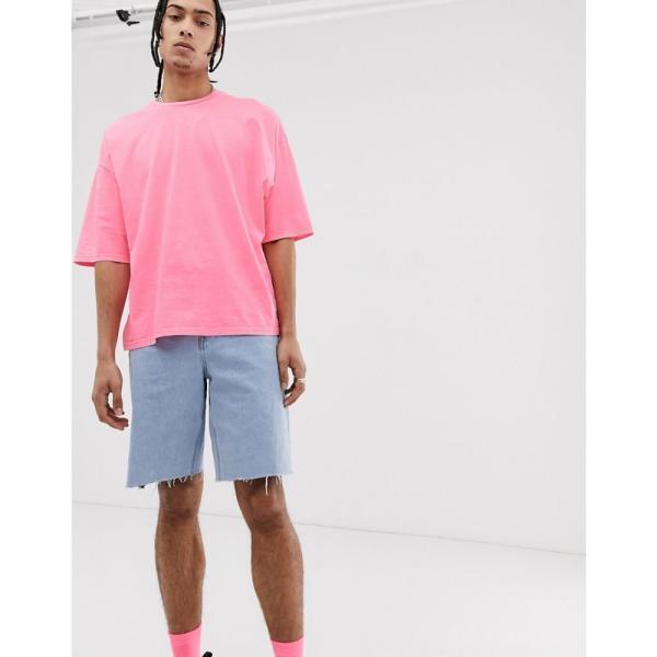 エイソス ASOS DESIGN メンズ Tシャツ トップス oversized t-shirt with half sleeve in washed neon pink Pink|fermart|04