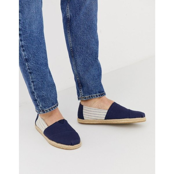 aa37d1dfdfa5 フェルマート fermart シューズトムス Toms メンズ エスパドリーユ シューズ・靴 TOMS espadrilles in navy  linen with rope detail Navy