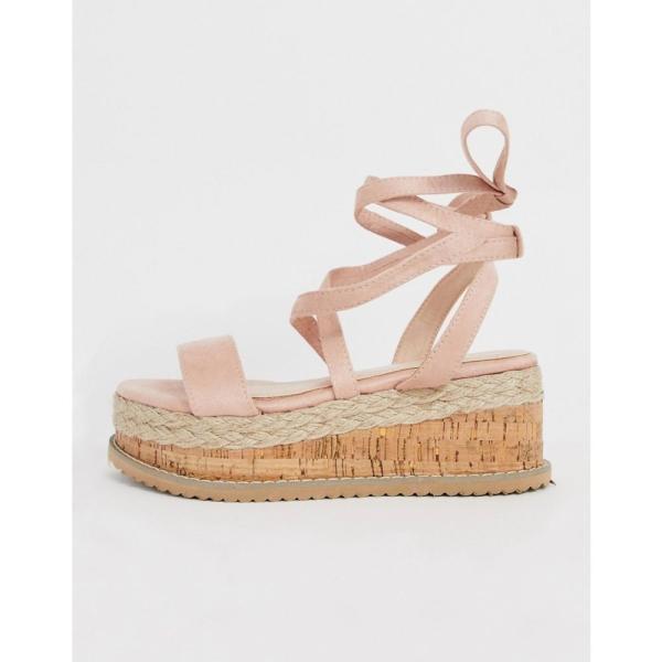 プリティリトルシング PrettyLittleThing レディース エスパドリーユ シューズ・靴 flatform espadrille sandal with tie ankle detail in pale pink Pink