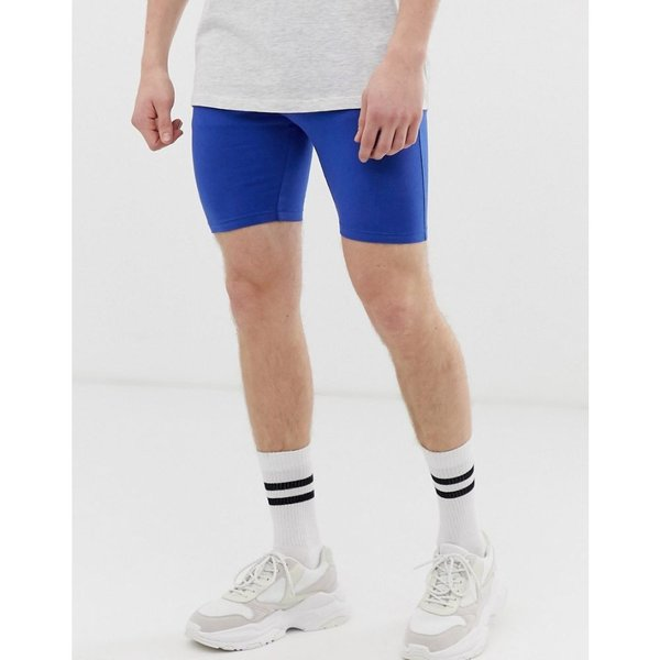 エイソス ASOS DESIGN メンズ ショートパンツ ボトムス・パンツ jersey megging shorts in blue Surf the web fermart