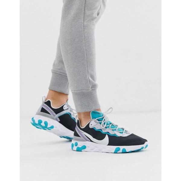 ナイキ Nike メンズ スニーカー シューズ・靴 React Element 55 trainers in black and teal Black/teal fermart