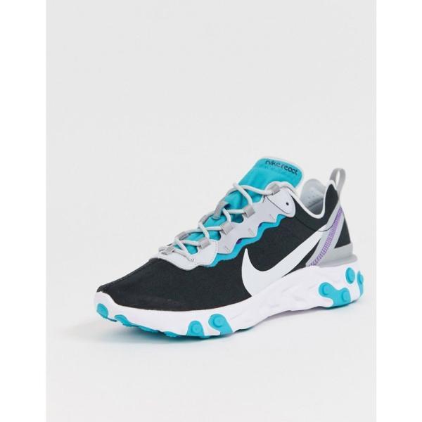 ナイキ Nike メンズ スニーカー シューズ・靴 React Element 55 trainers in black and teal Black/teal fermart 02