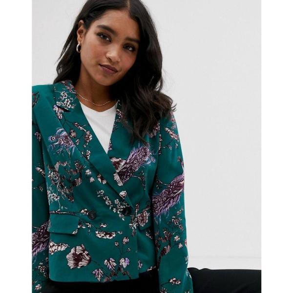 ヴィラ Vila レディース スーツ・ジャケット アウター floral short blazer Bayberry green
