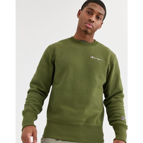 チャンピオン Champion メンズ スウェット・トレーナー トップス Reverse Weave small script crewneck sweatshirt in green グリーン fermart