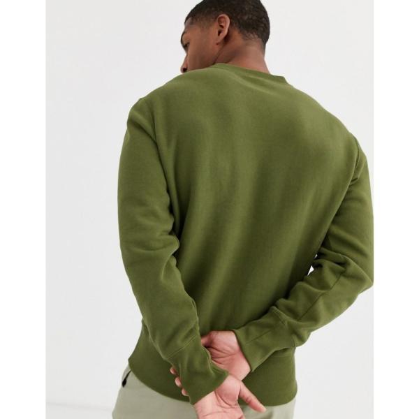 チャンピオン Champion メンズ スウェット・トレーナー トップス Reverse Weave small script crewneck sweatshirt in green グリーン fermart 02