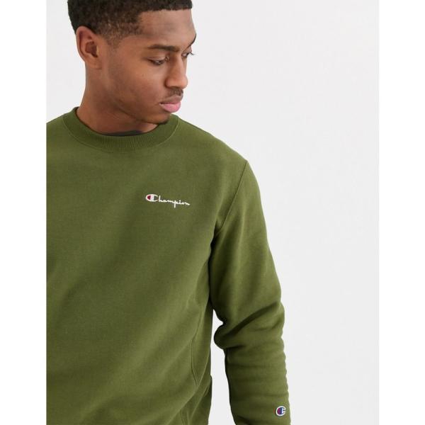 チャンピオン Champion メンズ スウェット・トレーナー トップス Reverse Weave small script crewneck sweatshirt in green グリーン fermart 03