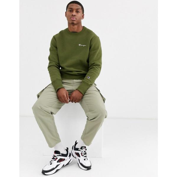 チャンピオン Champion メンズ スウェット・トレーナー トップス Reverse Weave small script crewneck sweatshirt in green グリーン fermart 04