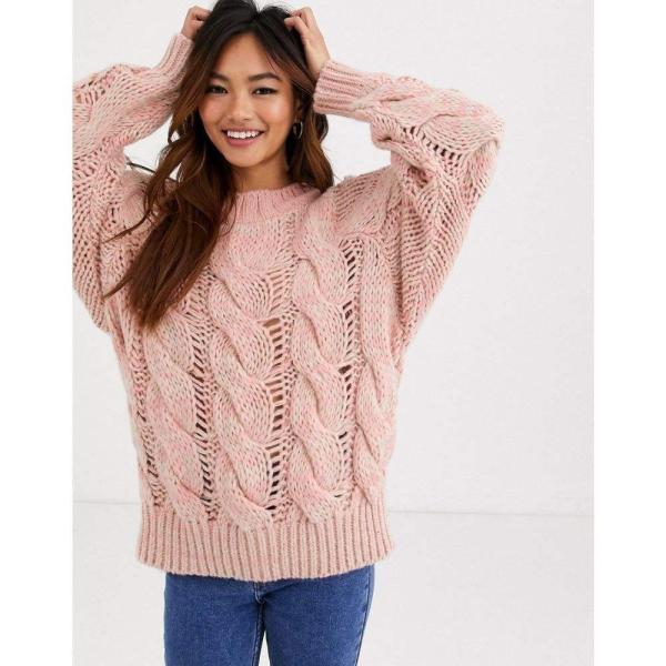 エイソス ASOS DESIGN レディース ニット・セーター トップス lofty knit cable jumper ピンク|fermart