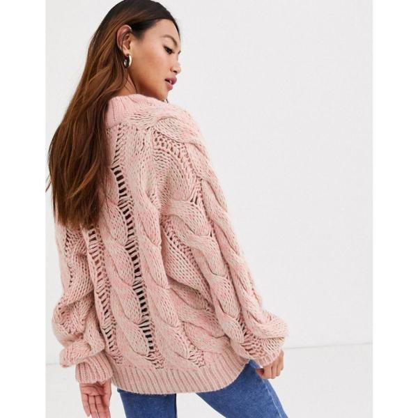 エイソス ASOS DESIGN レディース ニット・セーター トップス lofty knit cable jumper ピンク|fermart|02