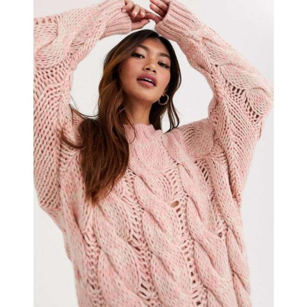 エイソス ASOS DESIGN レディース ニット・セーター トップス lofty knit cable jumper ピンク|fermart|03