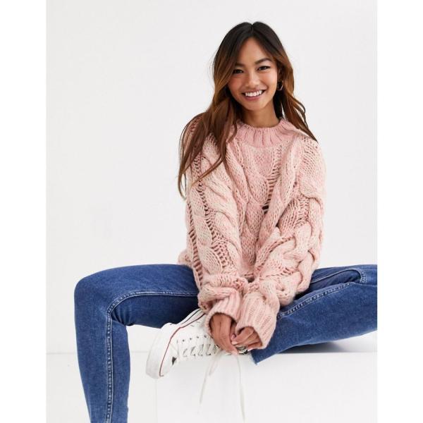 エイソス ASOS DESIGN レディース ニット・セーター トップス lofty knit cable jumper ピンク|fermart|04