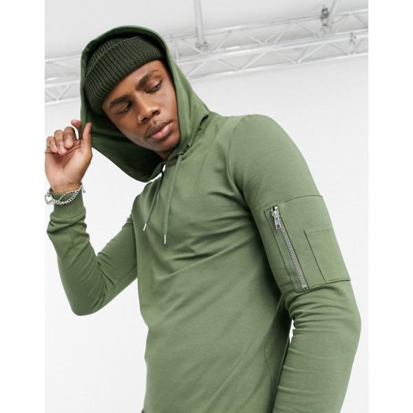 エイソス ASOS DESIGN メンズ パーカー トップス muscle hoodie with MA1 pocket in khaki クローバー|fermart