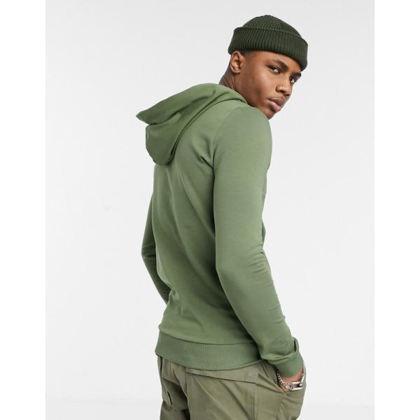 エイソス ASOS DESIGN メンズ パーカー トップス muscle hoodie with MA1 pocket in khaki クローバー|fermart|02