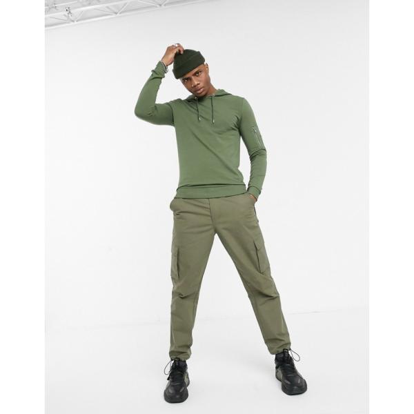 エイソス ASOS DESIGN メンズ パーカー トップス muscle hoodie with MA1 pocket in khaki クローバー|fermart|04