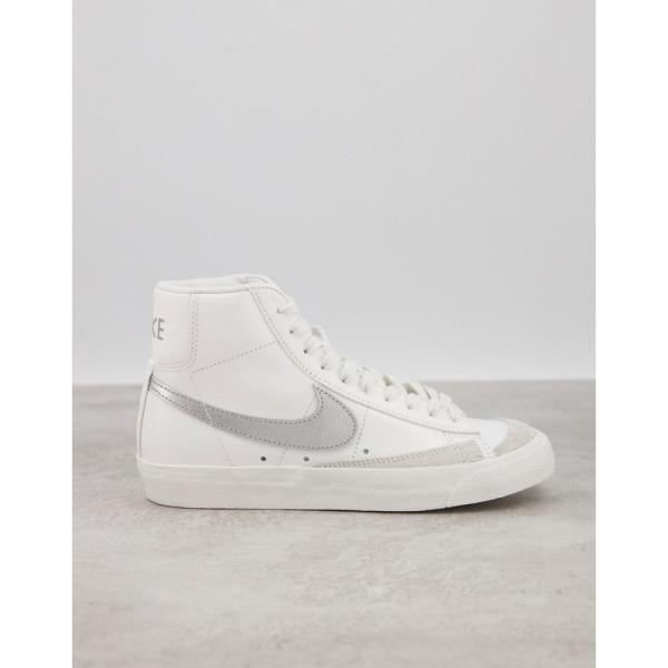 ナイキ Nike レディース スニーカー シューズ・靴 Blazer Mid '77 trainers in white and silver