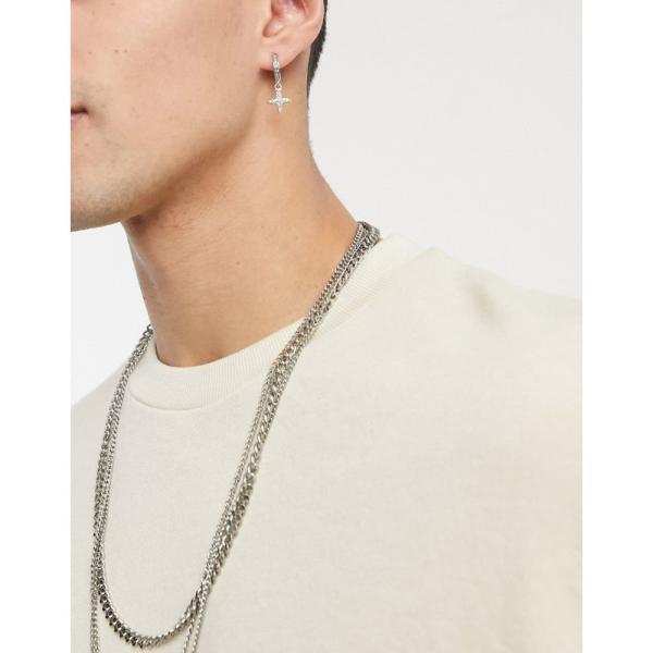 トップマン Topman メンズ イヤリング・ピアス フープピアス チャーム ジュエリー・アクセサリー hoop earrings with cross charm in silver クリスタル