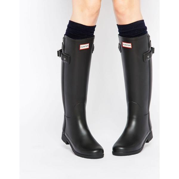 ハンター Hunter レディース 長靴 シューズ・靴 Hunter Original Refined Back Strap Black Wellington Boots Black