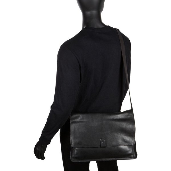 ハイデザイン Hidesign メンズ パソコンバッグ バッグ Aiden Leather Business Laptop Messenger Crossbody Bag Black