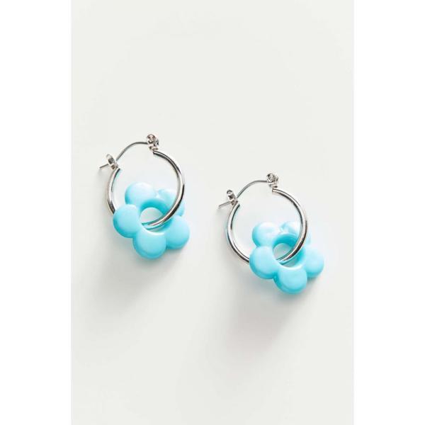 アーバンアウトフィッターズ Urban Outfitters レディース イヤリング・ピアス フープピアス チャーム Catalina Flower Charm Hoop Earring Silver/Light Blue