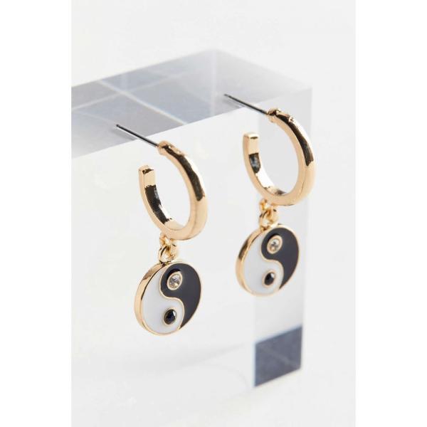アーバンアウトフィッターズ Urban Outfitters レディース イヤリング・ピアス フープピアス チャーム Yin Yang Enamel Charm Hoop Earring Gold