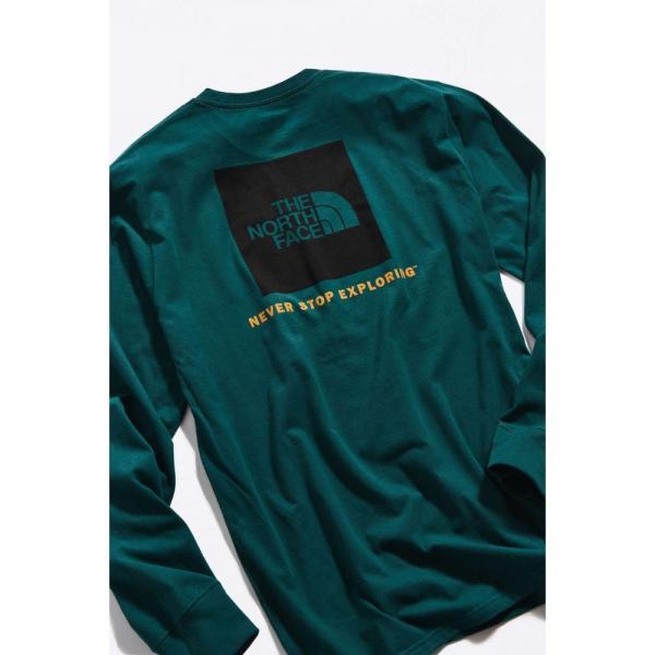 ザ ノースフェイス The North Face メンズ 長袖Tシャツ トップス Box Logo Long Sleeve Tee Green|fermart