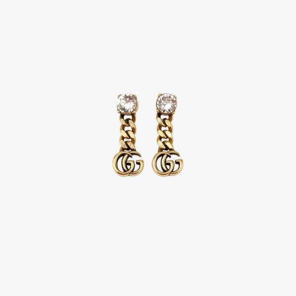 グッチ Gucci レディース イヤリング・ピアス ジュエリー・アクセサリー gold tone Double G crystal earrings gold
