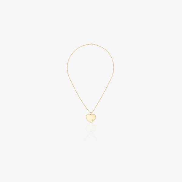 イボンヌレオン Yvonne Leon レディース ネックレス チャーム ハート ジュエリー・アクセサリー 18K yellow gold heart diamond charm necklace