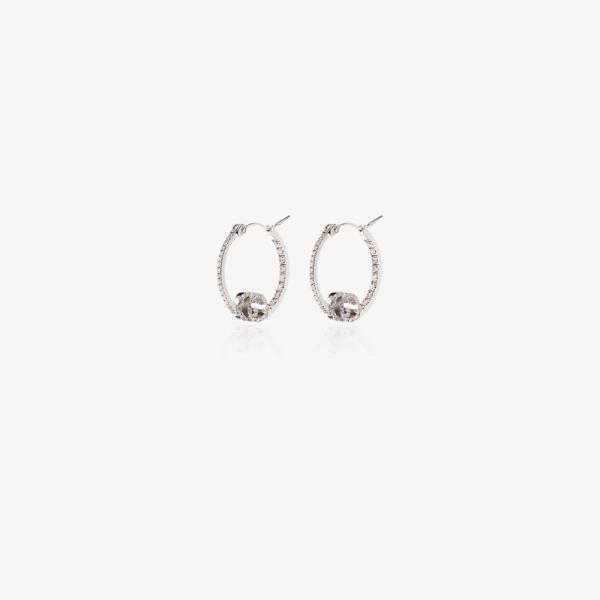 グッチ Gucci レディース イヤリング・ピアス ジュエリー・アクセサリー 18K white gold Running diamond hoop earrings