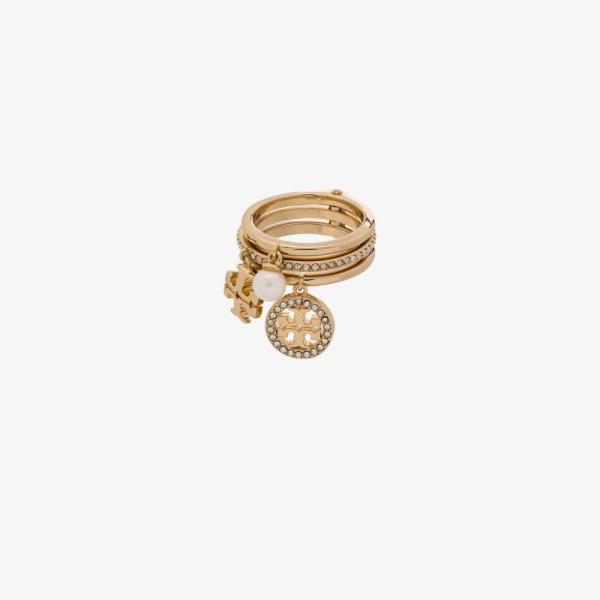 トリー バーチ Tory Burch レディース 指輪・リング チャーム ジュエリー・アクセサリー gold tone miller crystal charm ring gold
