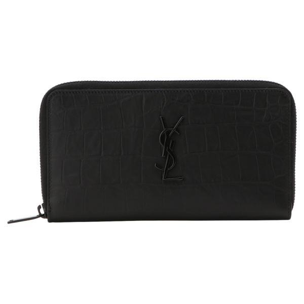 【即納】イヴ サンローラン Saint Laurent メンズ 財布 Leather Long Zip Wallet 529899 BLACK ラウンドファスナー 長財布 ロングウォレット 型押し モノグラム|fermart