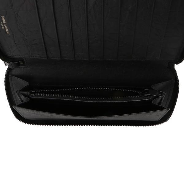 【即納】イヴ サンローラン Saint Laurent メンズ 財布 Leather Long Zip Wallet 529899 BLACK ラウンドファスナー 長財布 ロングウォレット 型押し モノグラム|fermart|04