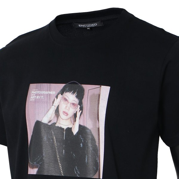 【即納】エンコーデッド T. x ENCODED メンズ Tシャツ トップス T.lady TEE black|fermart|05