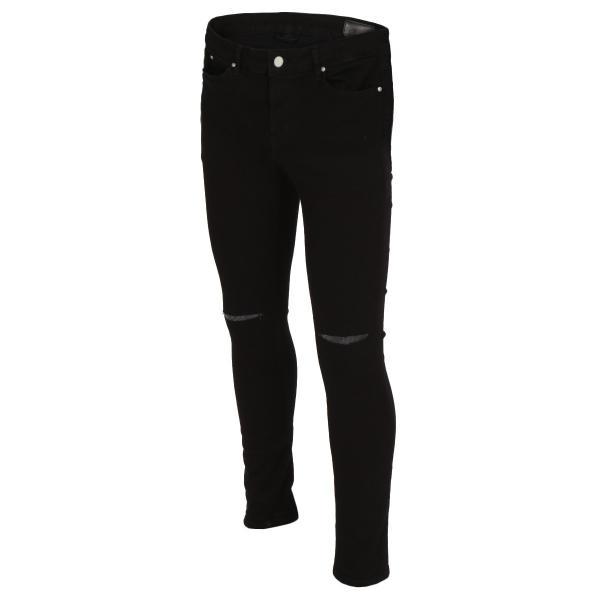 【即納】エイソス ASOS メンズ ジーンズ・デニム ボトムス・パンツ Super Skinny Jeans With Knee Rips Black|fermart