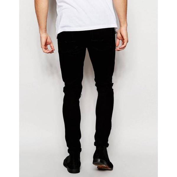 【即納】エイソス ASOS メンズ ジーンズ・デニム ボトムス・パンツ Super Skinny Jeans With Knee Rips Black|fermart|09