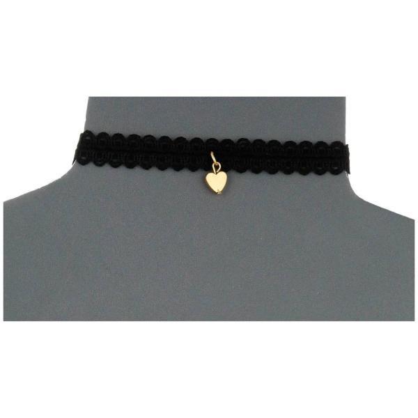 【即納】ヴァネッサ ムーニー Vanessa Mooney レディース ネックレス ジュエリー・アクセサリー Black Lace Choker with Gold Heart Charm Necklace Gold|fermart|02